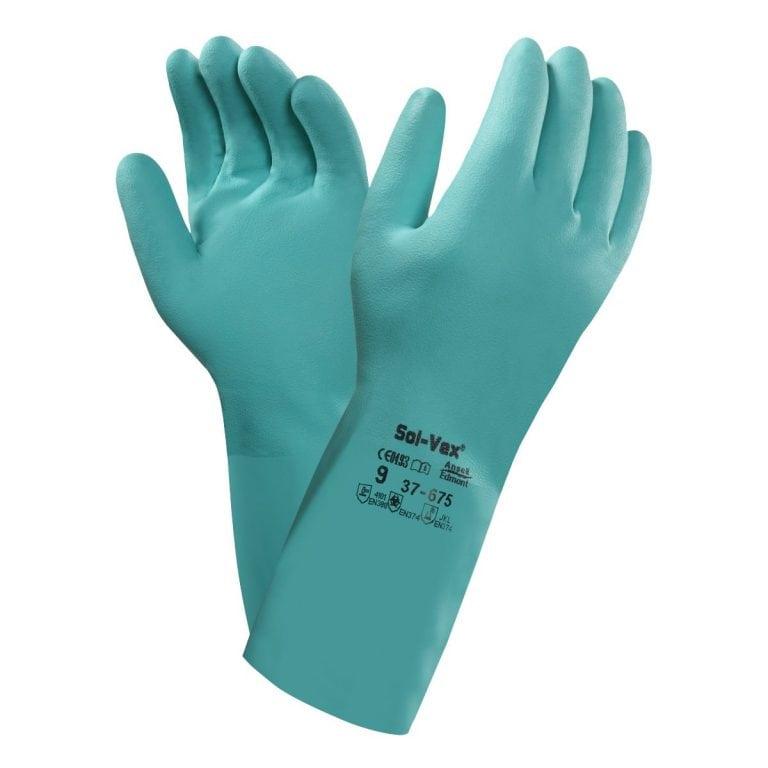 Ansell 37-676 Solvex® Flocked Chemical Nitrile Gloves