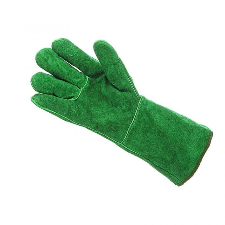 """Mens Chrome Leather Fleece Lined 14"""" Green Gauntlets"""