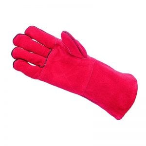 Mens Red Fleece Lined Deluxe Leather Gauntlets