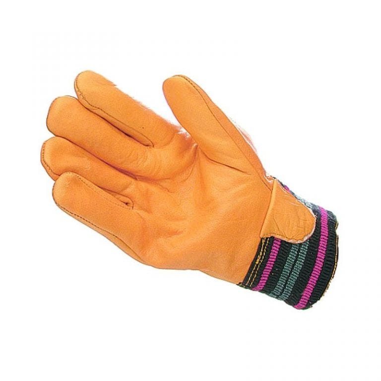 Mens Yellow Lined Cowhide Driver Style Gloves
