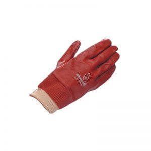 Red PVC Fully Coated Knit Wrist Hurricane Glove