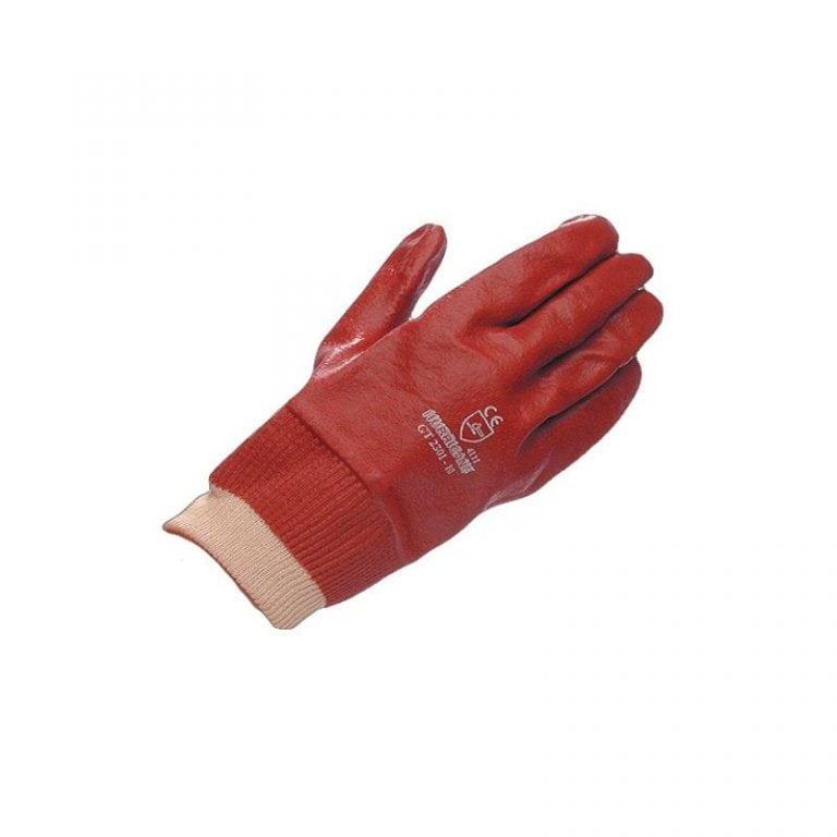 Red PVC Fully Coated Knit Wrist Hurricane Glove